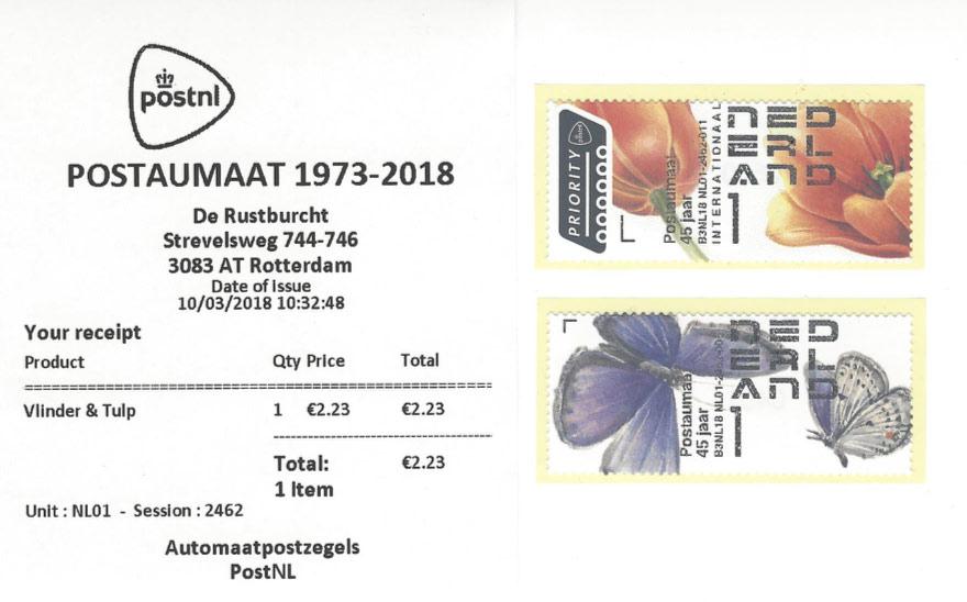 Postaumaatzegels 10 maart 2018