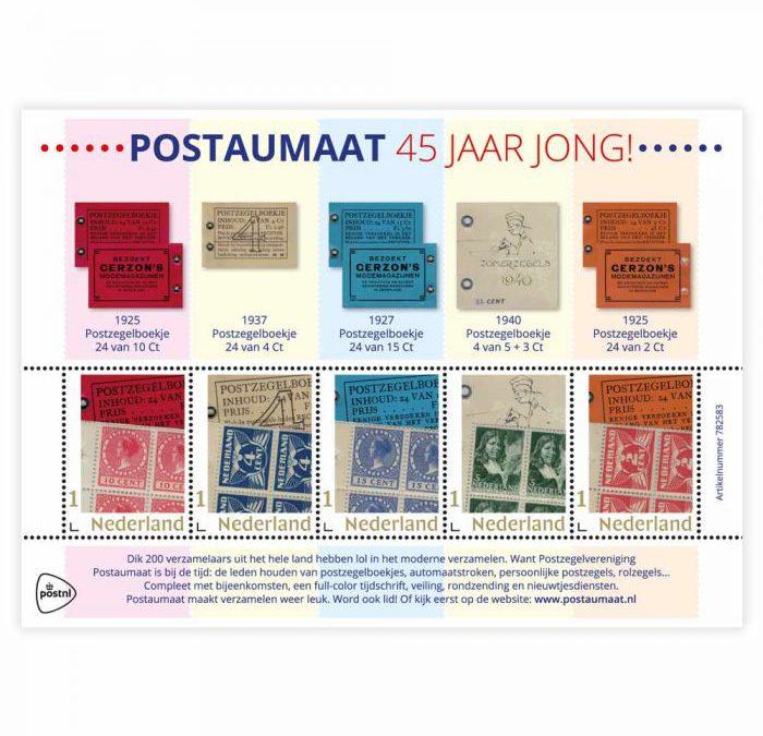 Vier postzegelvellen Postaumaat 45 jaar jong!